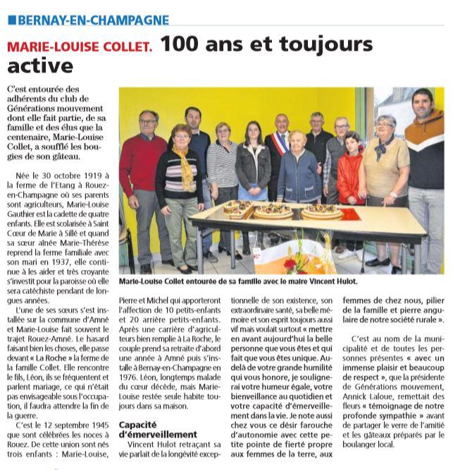 2019 GEN MOUVT BERNAY Fête les  100ans de MmeCOLLET