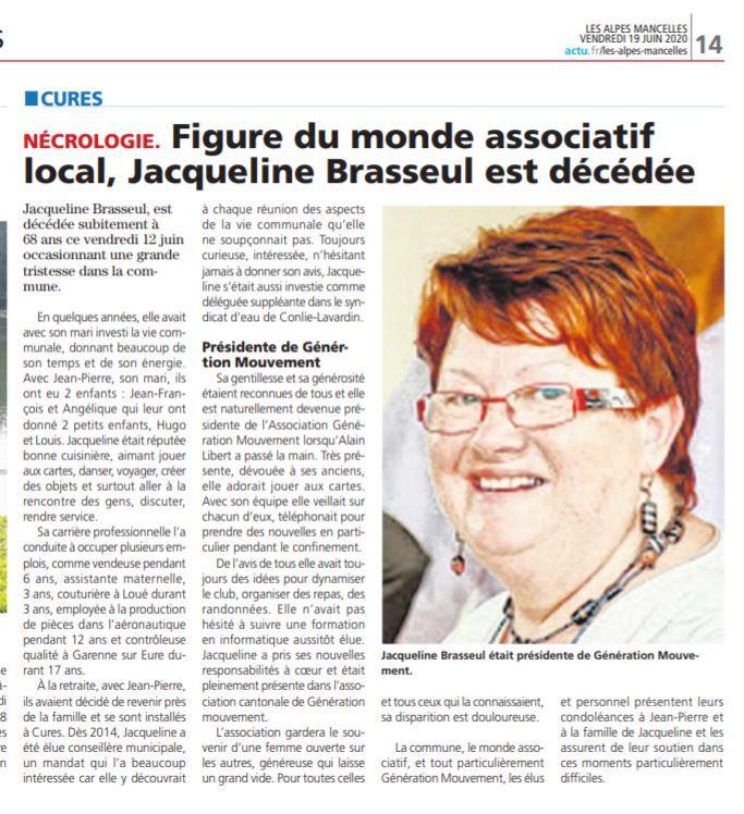 2020 cures jacqueline brasseul hommage  ARTICLE DES ALPES MANCELLES