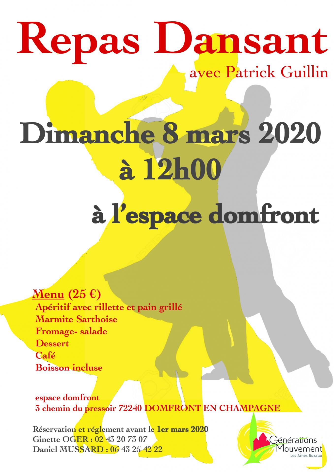 Affiche repas dansant du 20 mars 2020