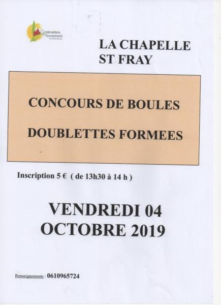 Concours boules la chapelle st fray 4 oct 2019